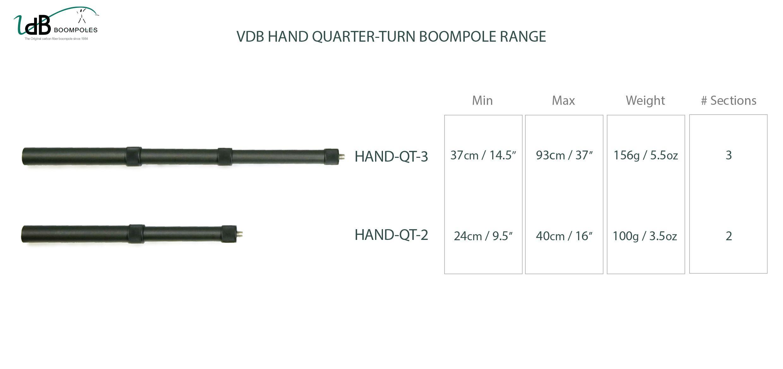 2 modelos pértigas gama HAND-QT VDB BOOMPOLES