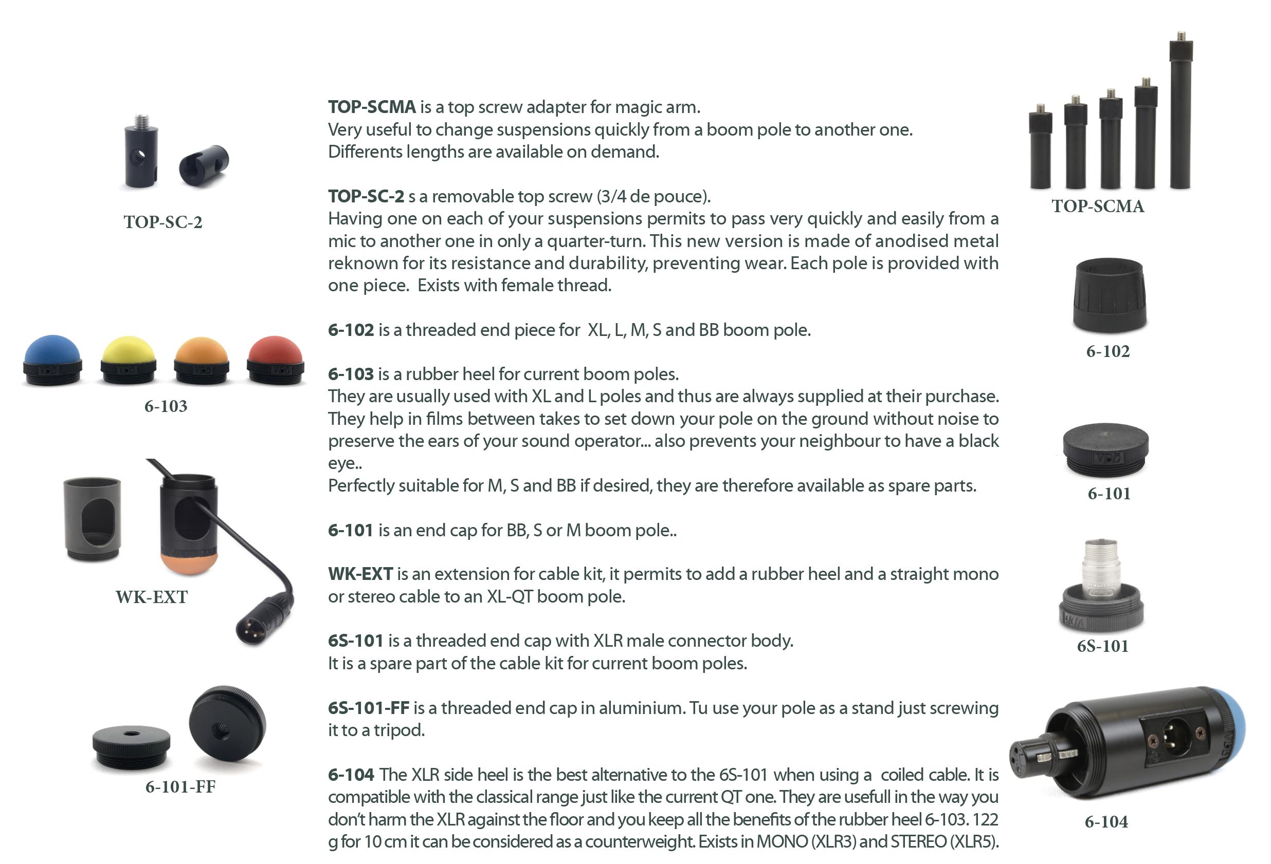 Overview accesorios pértigas VDB Boompoles